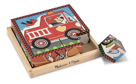 Drewniane Sześcienne Puzzle Pojazdy  Melissa and Doug 10772