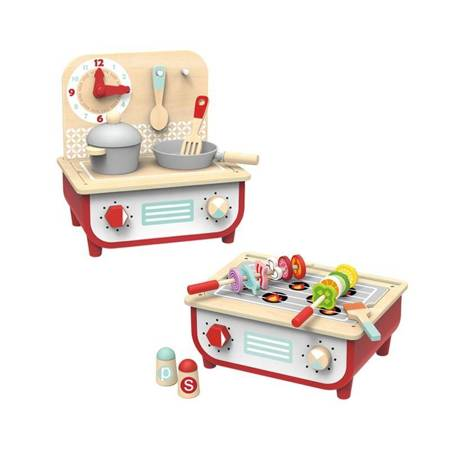 Drewniana Kuchnia z Grillem dla Dzieci 2 w 1 + Akcesoria Kuchenne TOOKY TOY