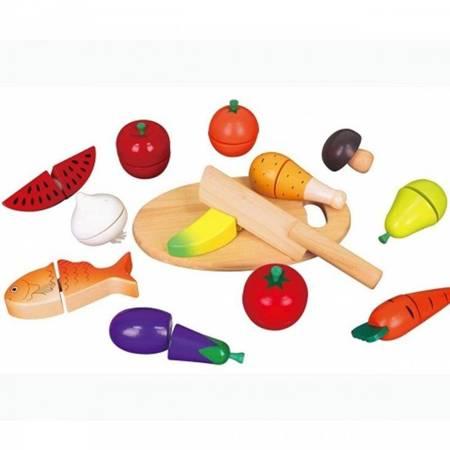 Drewniany Zestaw Produkty Spożywcze+ Deska do krojenia Viga Toys