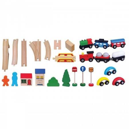 Drewniana  Kolejka 49 elementów Pociąg Viga Toys