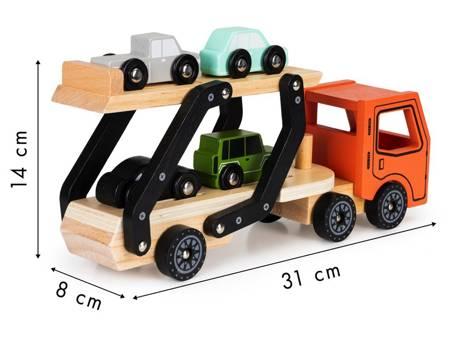 Drewniana Pomarańczowa Laweta + 4 auta