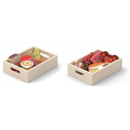 Drewniane  Artykuły Spożywcze w Skrzynkach Śniadanie Ryby Mięso Nabiał