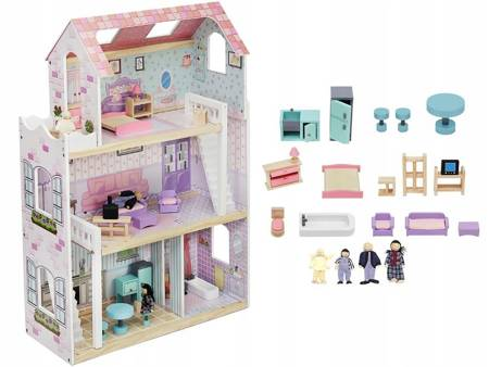 Drewniany Domek dla lalek Roxy + Komplet Laleczek