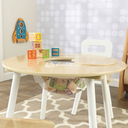 Drewniany Okrągły Stół i 2 Krzesła Round Natural Kidkraft 27027