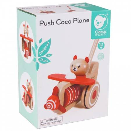 Drewniany Pchacz Samolot Miś Coco Classic World