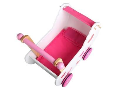 Drewniany Wózek dla lalek Serduszko