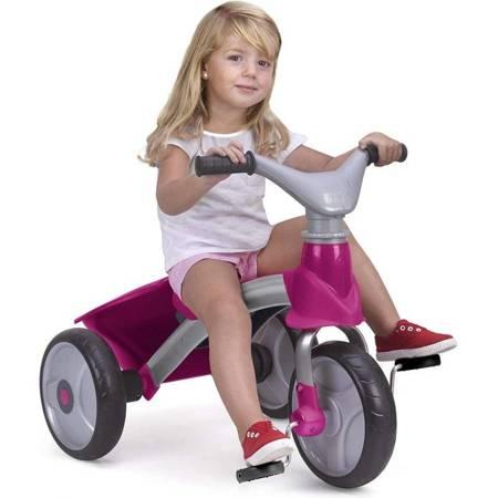 Feber Trójkołowy Różowy Rowerek 4w1 Biegowy Daszek Torba