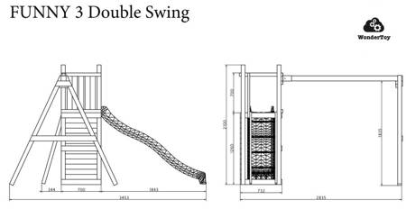 Plac zabaw Fungoo Funny 3 Double Swing
