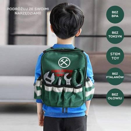 WOOPIE Plecak Majsterkowicza dla Dzieci Zestaw Narzędzi Wiertarka